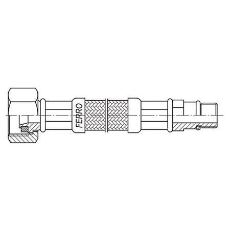 Ferro wąż w oplocie  1/2xM10x1'' 60cm z krótką końcówką