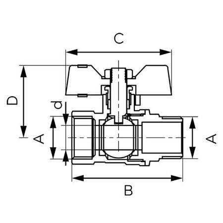 Ferro zawór kulowy 3/4 WZ z motylkiem DN20